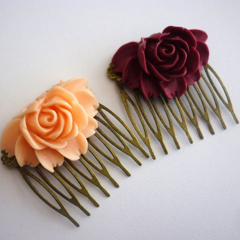 vintage rose hair slide/comb