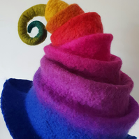 Rainbow Felted witch wizard, festival, Halloween unique hat