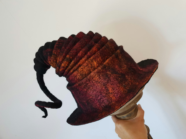 Felted witch wizard, festival, Halloween unique hat silk highlights