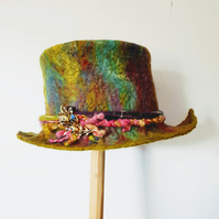 Felted hat, festival rainbow boho unique felted top hat, trilby ready to post