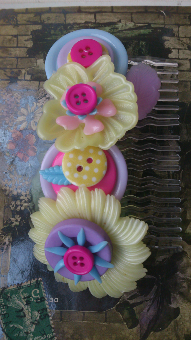 Vintage flower hair comb-Pink & Yellow