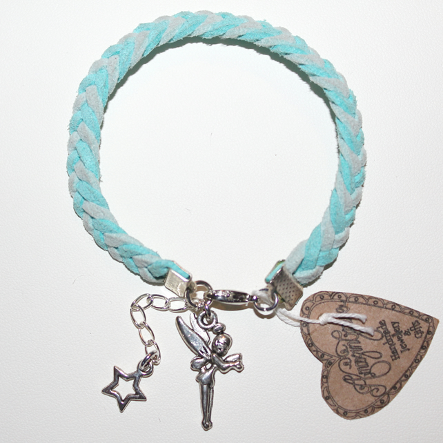 Tinkerbell Charm Bracelet: Turquoise Plaited Cord Silver Tinkerbell Charm ...