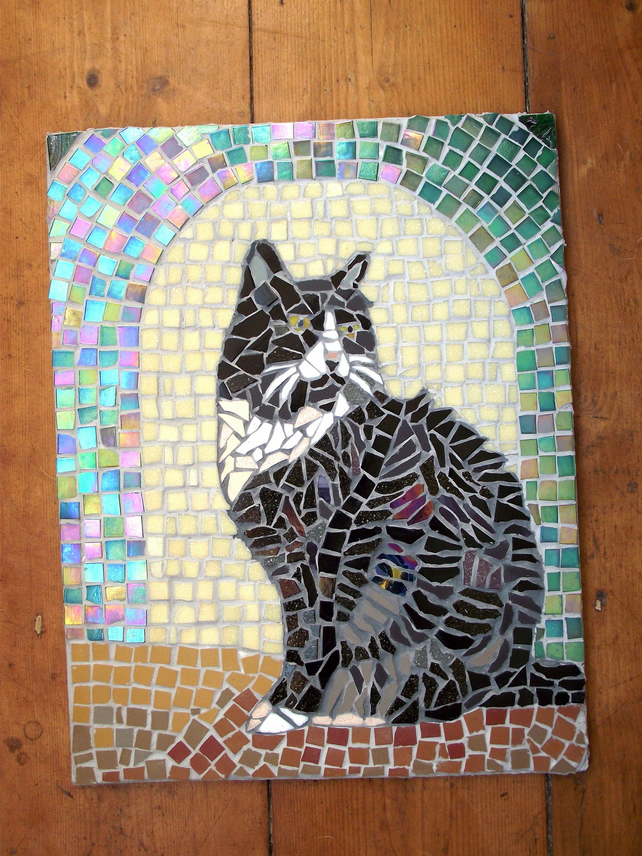 Mosaic pet portrait commissions