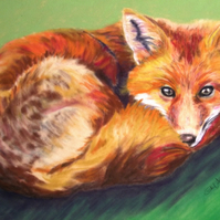 Fox pastel painting - framed