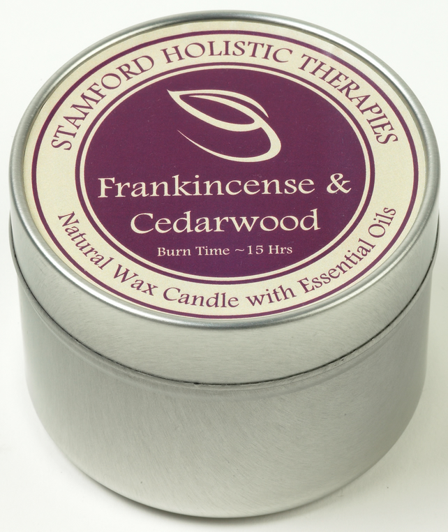 Tranquility: Frankincense & Cedarwood Aromatherapy Tin Candle