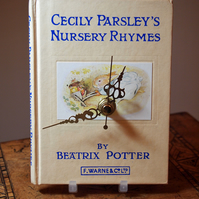 Vintage book clock, Cecily Parsley's Nursery Rhymes by Beatrix Potter