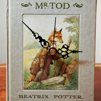 SALE The Tale of Mr. Tod by Beatrix Potter - vintage book clock.