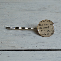 SALE Mr. Darcy Pride & Prejudice vintage book page hair pin (1918).