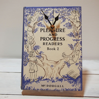 SALE Clock upcycled from the book Pleasure & Progress Readers (1958)