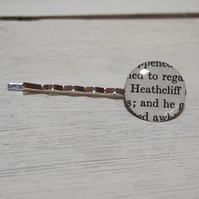 Wuthering Heights 'Heathcliff' vintage book page hair pin (1991).