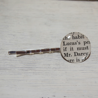 Pride & Prejudice 'Mr Darcy' vintage book page hair pin (1952).