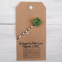 Green vintage book page hair pin old fashioned currency price.
