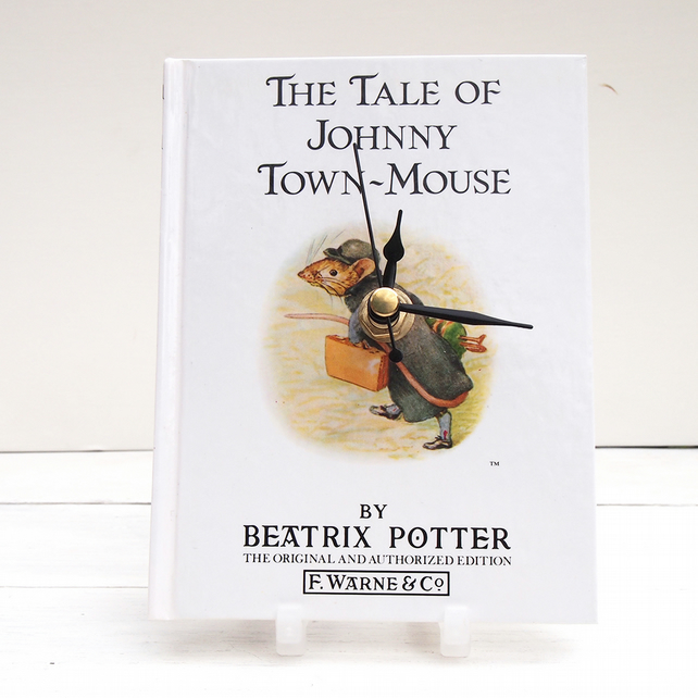 Johnny Town-Mouse white book clock made from the Beatrix Potter tale