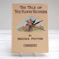 The Flopsy Bunnies cream book clock made from the Beatrix Potter tale