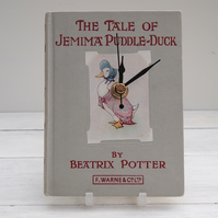 Jemima Puddle-Duck pale grey book clock made from the Beatrix Potter favourite