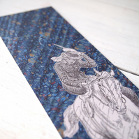 Pride & Prejudice Jane Austen bookmark Jane Bennet on horseback blue marbled