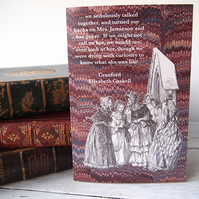 Cranford gossip literary greetings card featuring the ladies outside church
