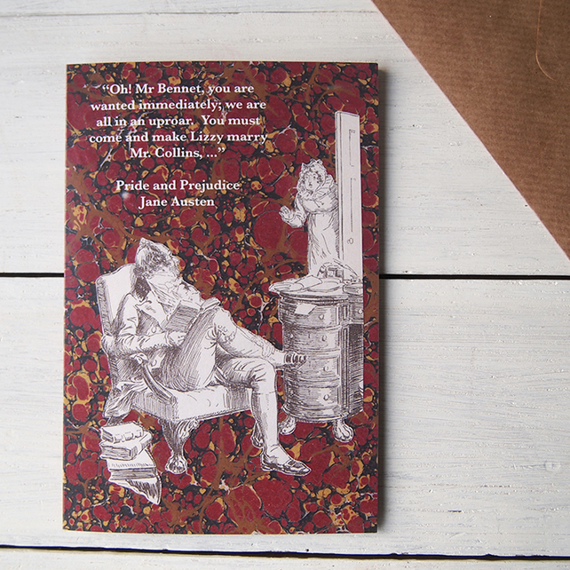 Pride & Prejudice Jane Austen greetings card Oh! Mr Bennet deep red gold marbled