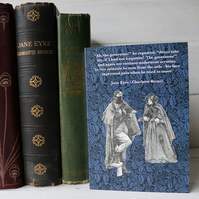 Jane Eyre blue William Morris pattern card with quotation.  Mr Rochester meets