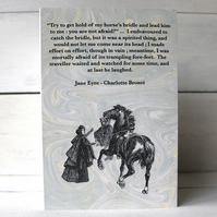 Jane Eyre quotation card Charlotte Brontë. Jane Eyre and Mr Rochester meet.
