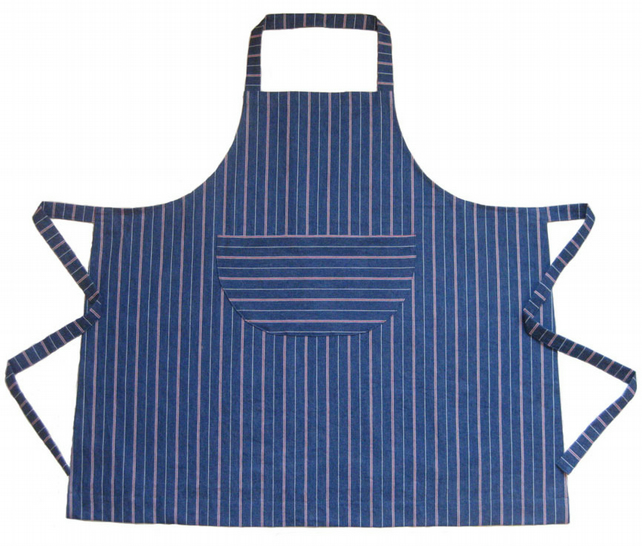 Womens Denim Stripe Work Apron, For Artists & Makers. No 5.