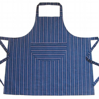 Womens denim stripe work apron. Wider shape for artists & makers. No 5.