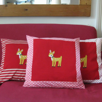 Childs cushion -Deer Applique- Pink and white spot