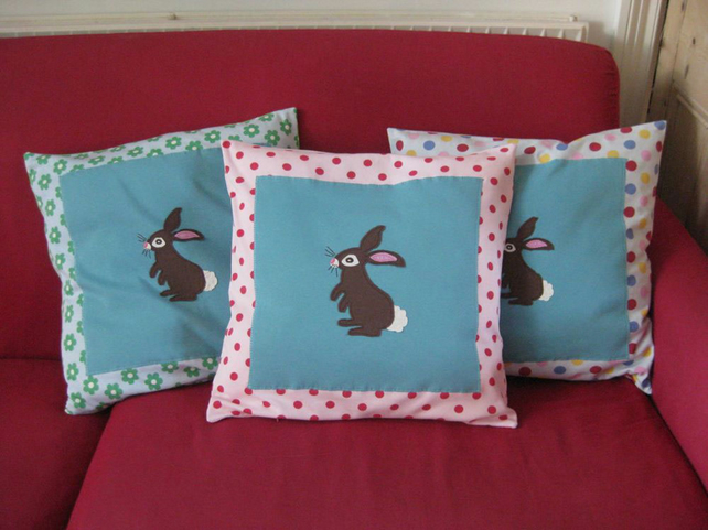 Childs Cushion, Bunny Rabbit Applique, Spotty Red Pink
