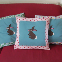 Childs cushion - Bunny Rabbit Applique - Pink and red spot