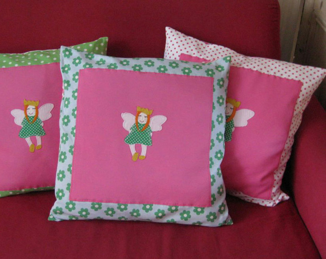 Childs Girls Cushion, Fairy Princess Appliqué, Blue & Green Fower