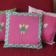 Childs cushion with fairy princess applique - Blue and Green flower