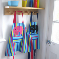 Age 3-4 yrs. Pink 'Efalant' hand appliquéd child's stripey apron