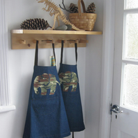 Childs Boys Girls Denim Apron, Hand Appliquéd Elephant, Camo Print 3-4yrs