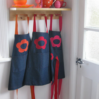 Childs Girls Denim Apron, Hand Appliquéd Red Flowers 5-7yrs