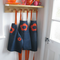 Girls Apron, Childs Denim Apron, Hand Appliquéd Orange Flowers 3-4yrs, 5-7yrs