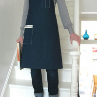 Womens, denim work apron, with zip pocket. For artists & makers. No 2