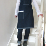 Denim Work Apron, Zip Pocket, Reverse Denim Detail. For Artisan Makers. No 1
