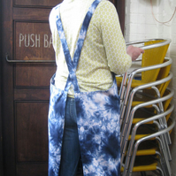 Artisan Apron No 4. Blue Tie-Dye. Womens Medium-Large