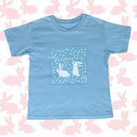 """Rabbits in the Garden"" girls t-shirt. age 5-6 and 7-8 yrs"