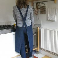 Womens Denim crossback work apron. For artists & makers. Front pocket. No 4:2