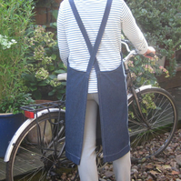 Womens Cross Back, Denim Work Apron, Side Pocket. No4