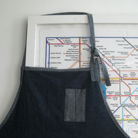 Mens Denim Work Apron, Adjustable, Pieced Denim. For Artisan Makers. No 6.