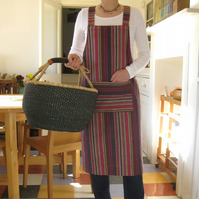 Beautiful cotton woven stripe apron. Pull-on, no ties. House No 4. Medium-Large