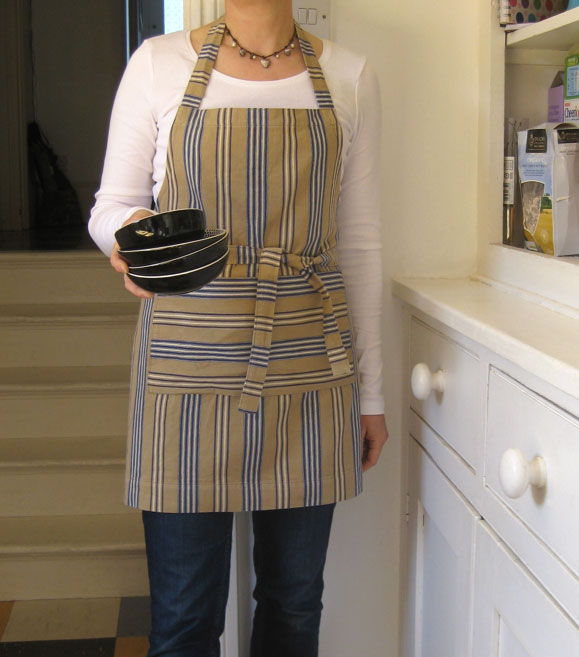 Womens Short Apron, Stripe Cotton, Beige-Blue. No 2