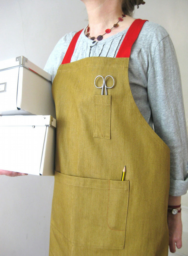 Womens Crossback Denim Apron with Adjustable Red Ties. Ochre No7