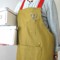 Womens ochre denim work apron, red adjustable ties. For artists and makers. No7