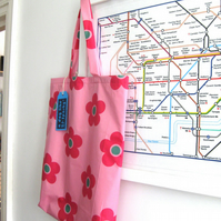 Large Shower-Proof Tote Bag, Lined, Pink Flower Print.
