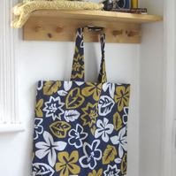 Large, beach tote bag, quick dry fabric, blue Hawaiian print. One of a kind.