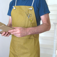 Adjustable Crossback Work Apron, Ochre Denim. For Artists and Crafters. No8