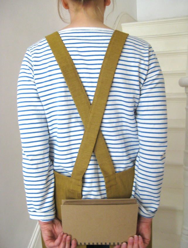 Cross Back, Work Apron, Ochre Denim. For Artists & Makers. No 4:3